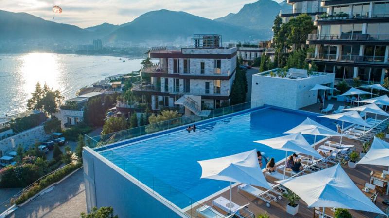Rooftop infinity pool at Dukley Gardens, Budva, Montenegro